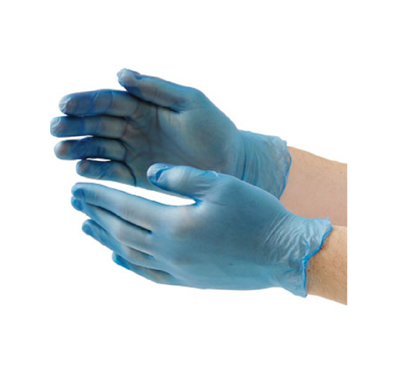 Blue Vinyl Powdered Gloves
